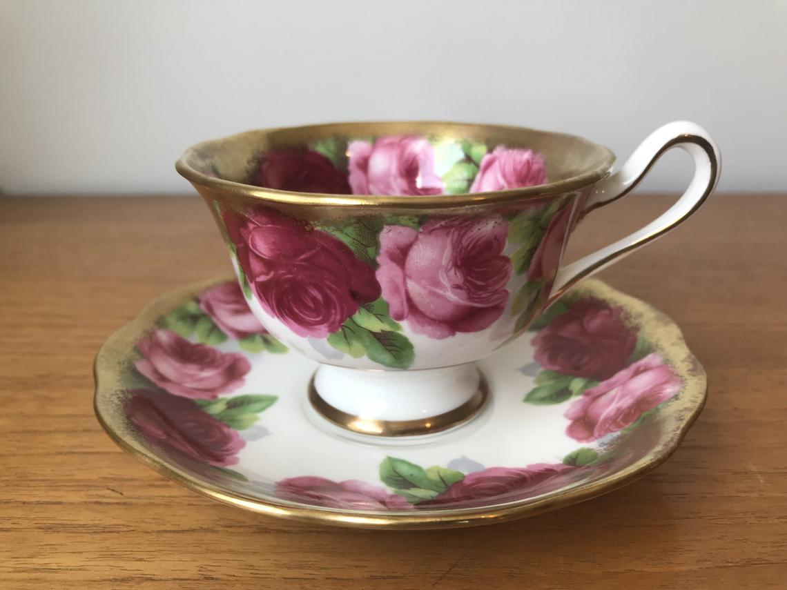 Royal Albert Old English Rose Tea Cup and Saucer, Dark and Light Pink Rose Teacup and Saucer, Bone China