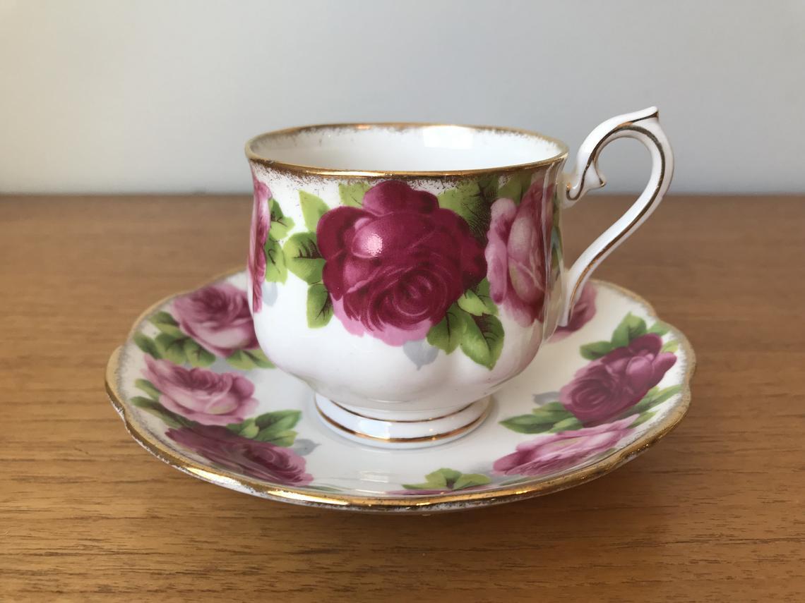 Royal Albert Old English Rose Tea Cup and Saucer, Dark and Light Pink Roses Vintage Teacup and Saucer, Bone China