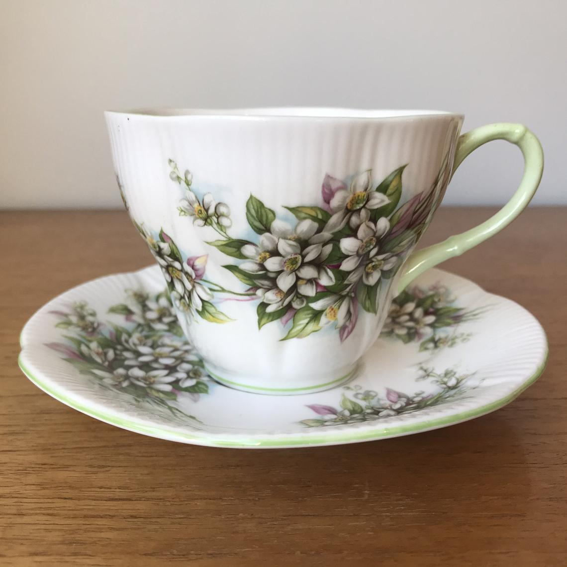 Royal Albert Orange Blossom Blossom Time Series, Floral Teacup and Saucer, English Tea Cup and Saucer, Bone China, Vintage