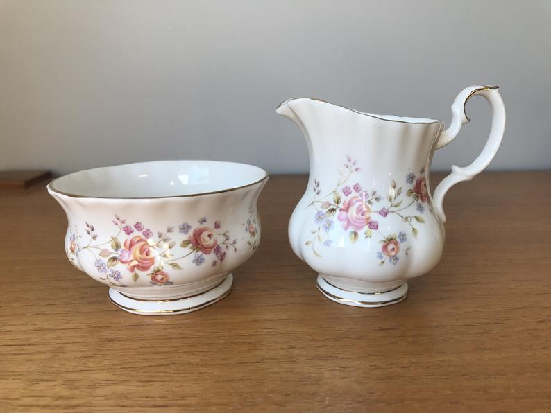 Royal Albert Peach Rose Creamer and Sugar Bowl, China Milk Pitcher and Sugar Bowl set