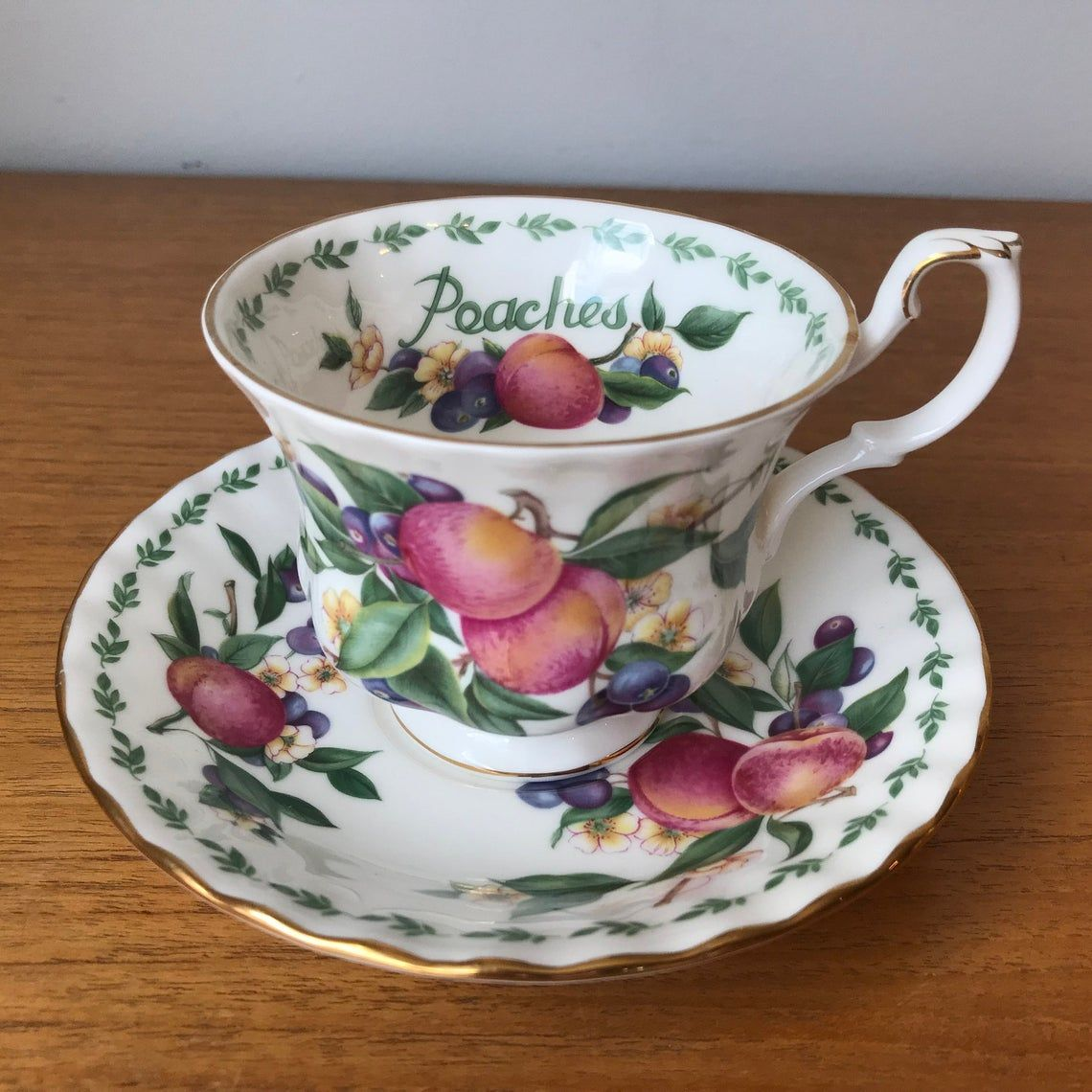 Royal Albert Peaches Vintage Teacup and Saucer, Covent Garden Fruit Series, Peach Flowers Tea Cup, and Saucer, Bone China