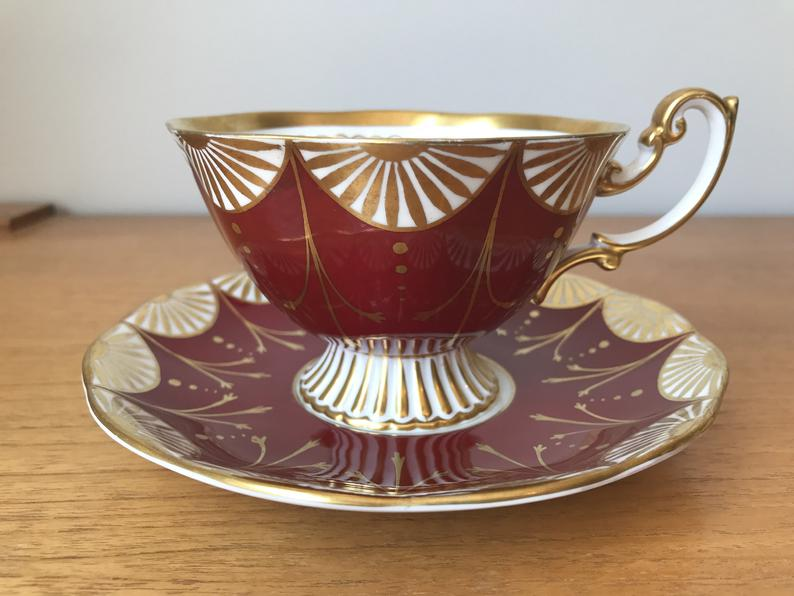 Royal Albert Pedestal Tea Cup and Saucer, Red, White and Gold Swag Teacup and Saucer, Vintage Bone China