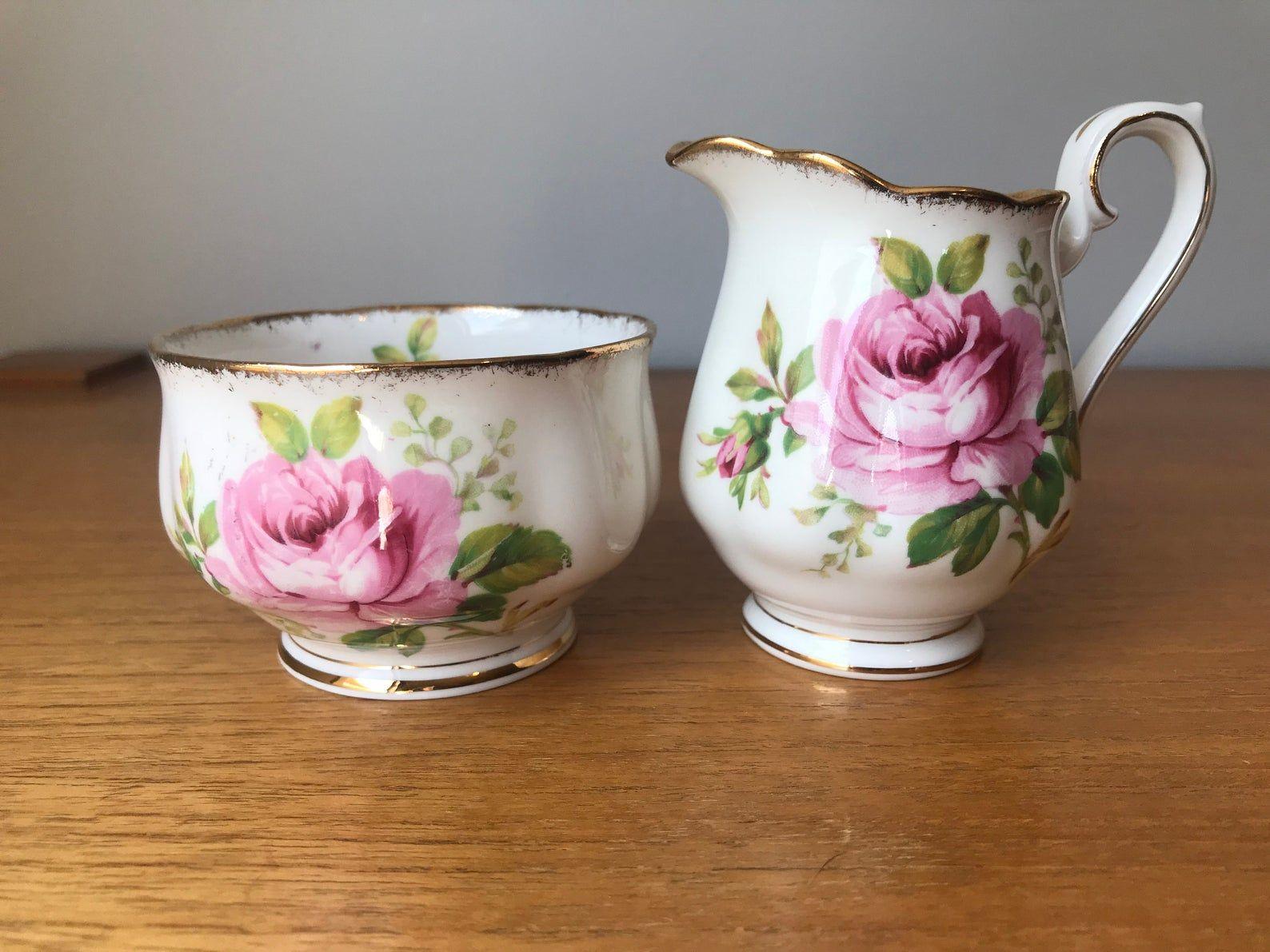 "Royal Albert ""American Beauty"" Bone China, Vintage Cream and Sugar set, Pink Rose Creamer and Sugar Bowl, Milk Pitcher"