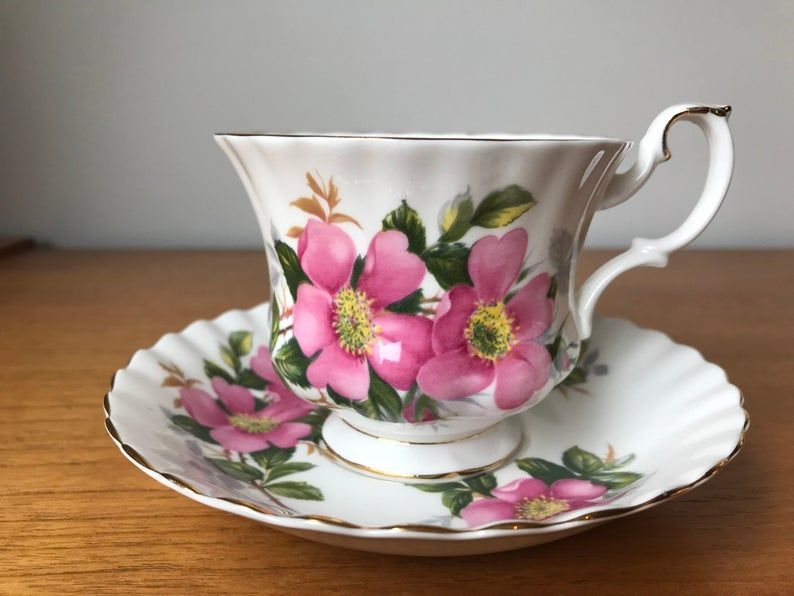 Royal Albert Prairie Rose Vintage Teacup and Saucer, Pink Wild Rose Flower Tea Cup and Saucer, English Floral China