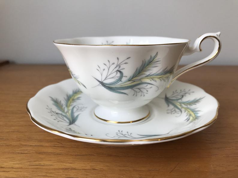 Royal Albert Rende-Vous Yellow Grey and Turquoise Leaf Teacup and Saucer, Vintage Bone China Tea Cup and Saucer