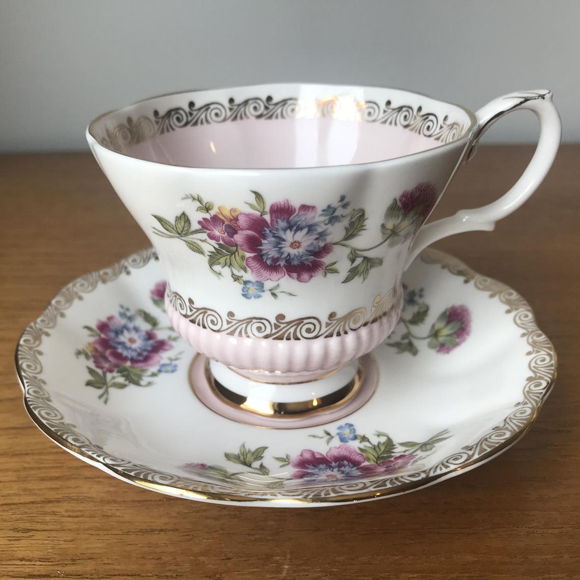 Royal Albert Reverie Series Tea Cup and Saucer, Pink Teacup and Saucer, Floral English Bone China