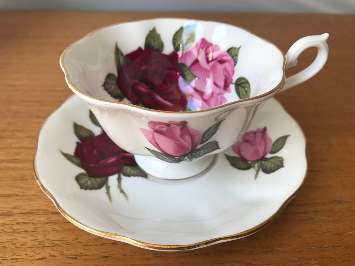 Royal Albert Roses Tea Cup and Saucer, Pink and Red Rose Teacup and Saucer, Vintage Bone China, Avon Shape, Garden Tea Party Gift