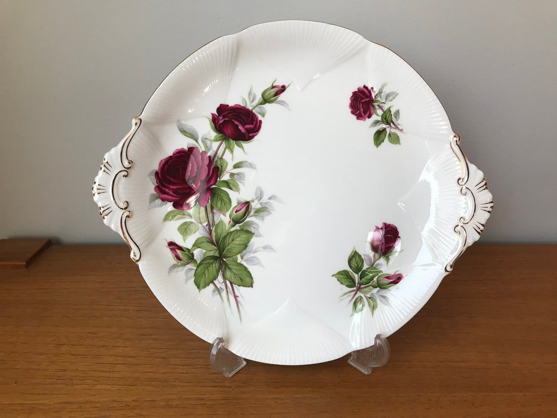 "China Dessert Tray, Royal Albert ""Royal Canadian Rose"" Red Rose Serving Cake Plate, Bone China Dish"