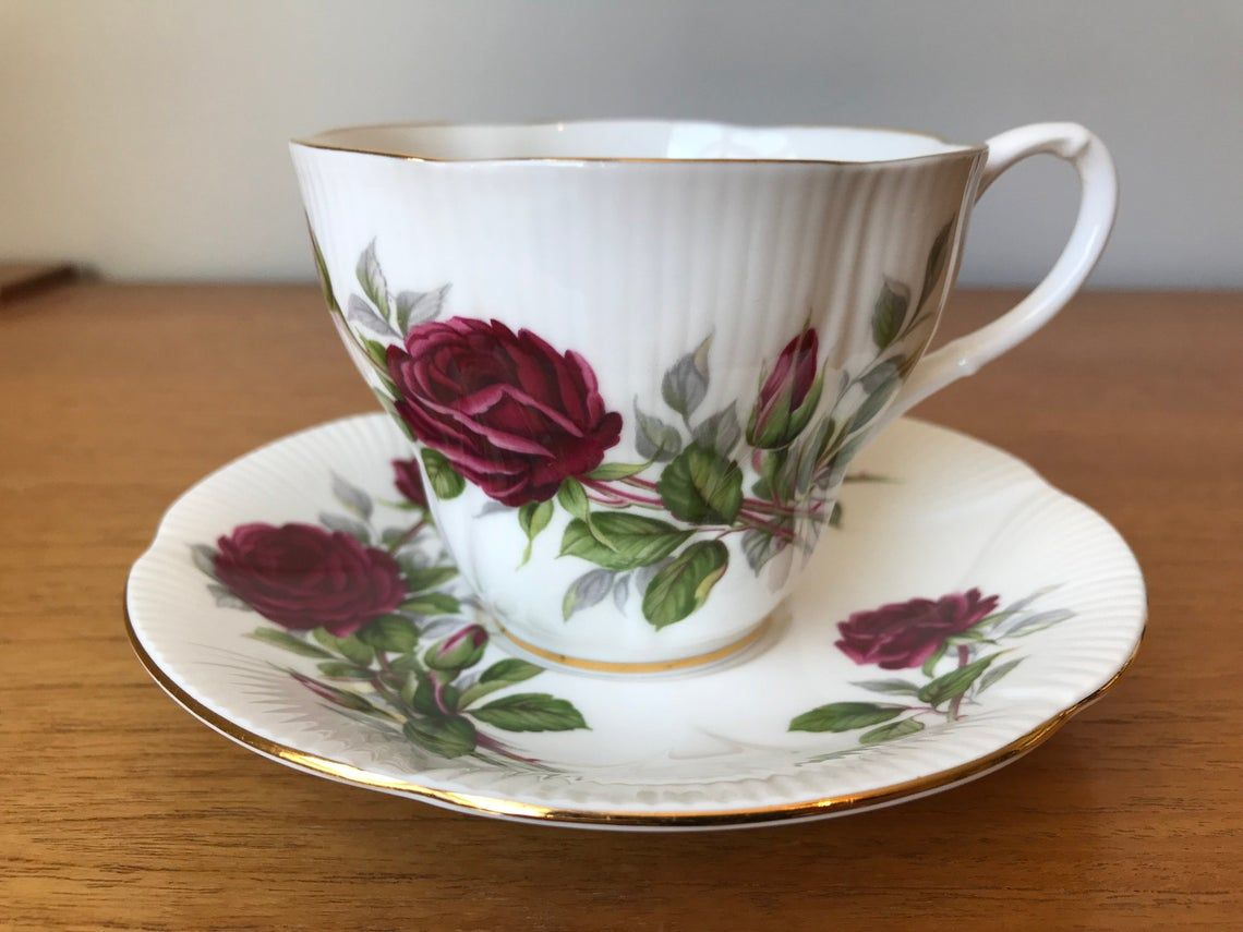 Royal Albert Royal Canadian Rose Tea Cup and Saucer, Bone China Teacup and Saucer