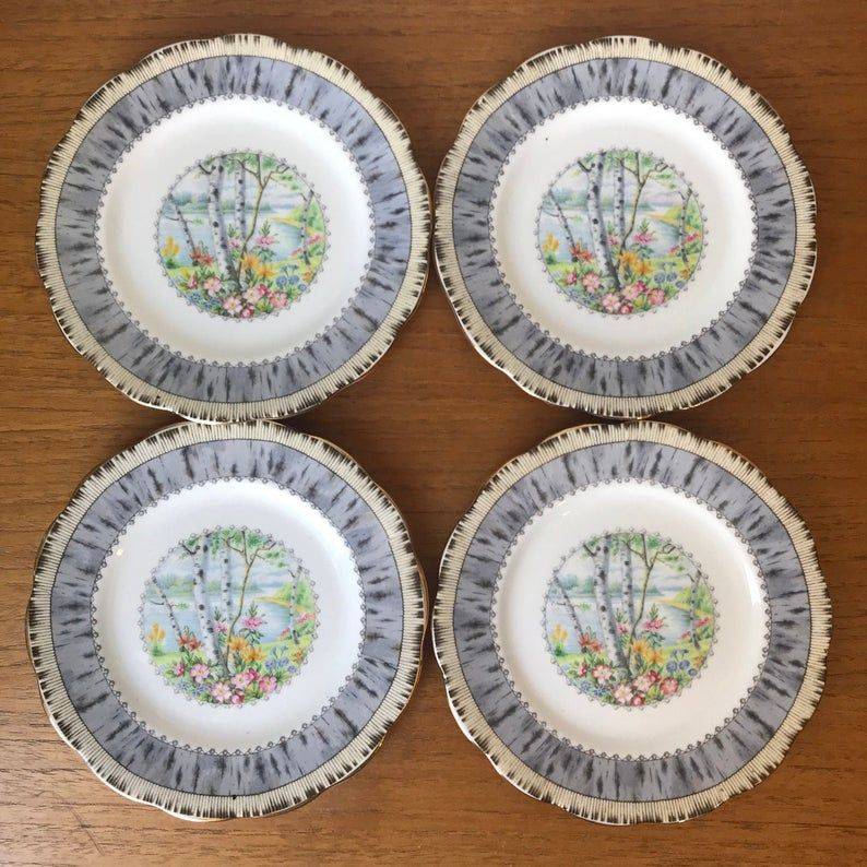 Royal Albert Silver Birch Bread and Butter Plates, Scenic Birch Trees Side Plates, Bone China Tea Plates, Grey Vintage Dishes