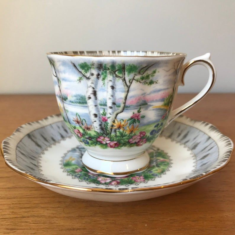 Royal Albert Silver Birch Tea Cup and Saucer, Trees and Flowers Teacup and Saucer, Bone China