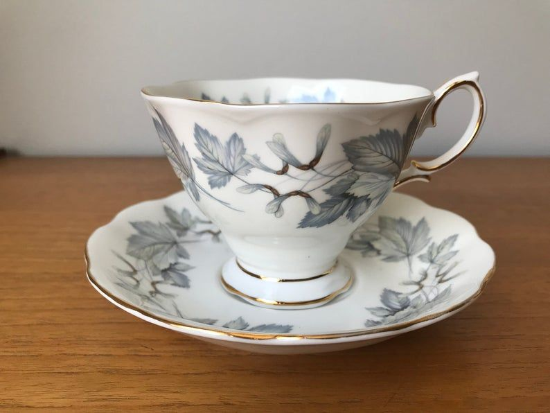 Royal Albert Silver Maple Tea Cup and Saucer, Grey Maple Leaf Teacup and Saucer