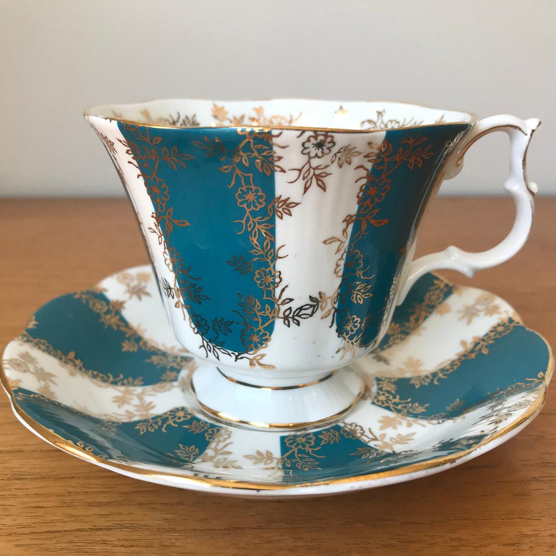 Royal Albert Stripes Tea Cup and Saucer, Turquoise and White Teacup and Saucer with Gold Flower Overlay