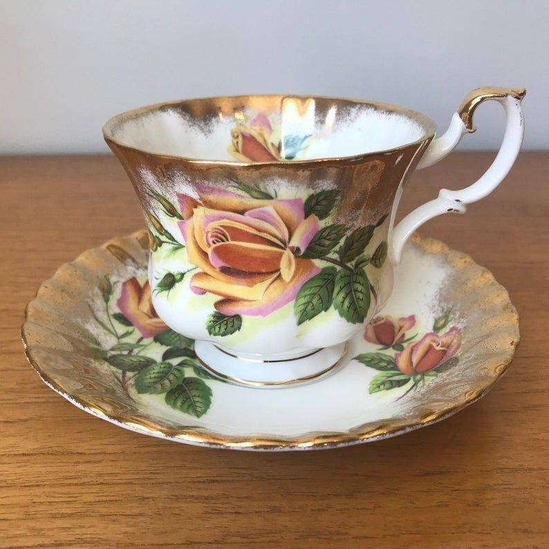Royal Albert Sweetheart Roses China Tea Cup and Saucer, Margaret Pink Yellow and Orange Roses Teacup and Saucer with Heavy Gold