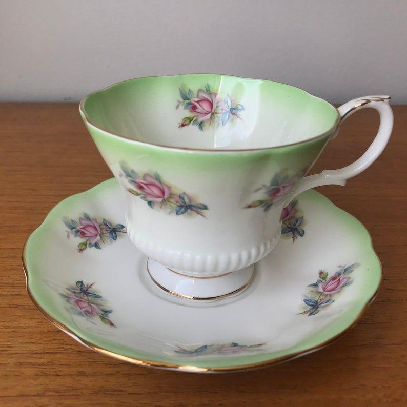 Royal Albert Tea Cup and Sauce, Horizon Series Green Ombre Pink Rose Teacup and Saucer