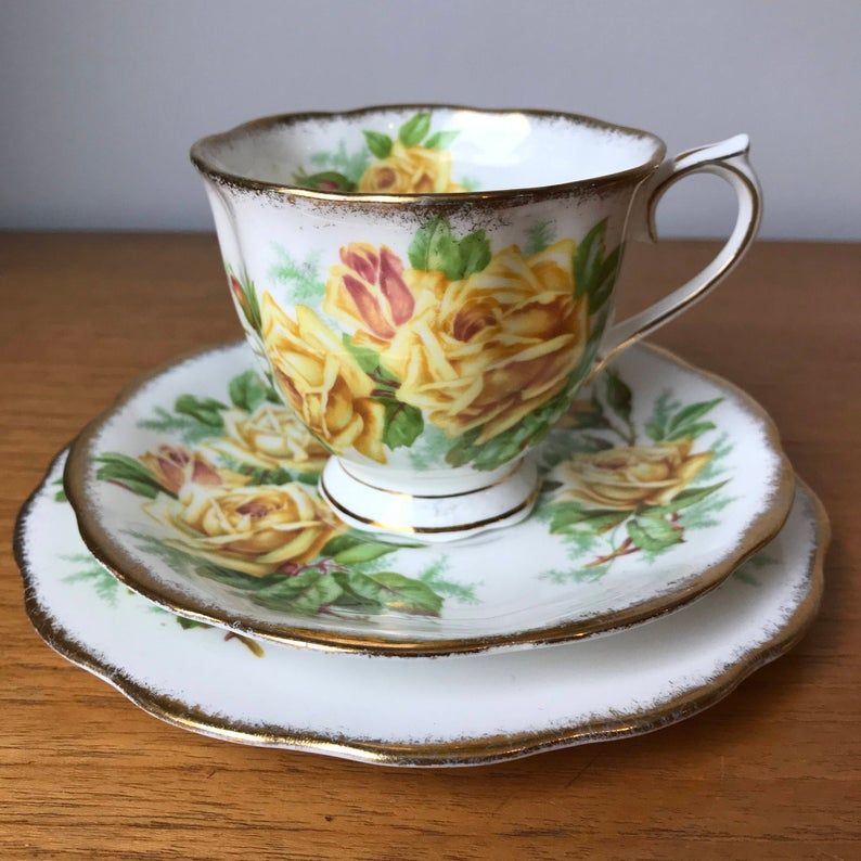 Royal Albert Tea Rose Vintage Teacup Trio, Yellow Rose Teacup, Saucer, and Side Plate, English Floral China, Garden Tea Party