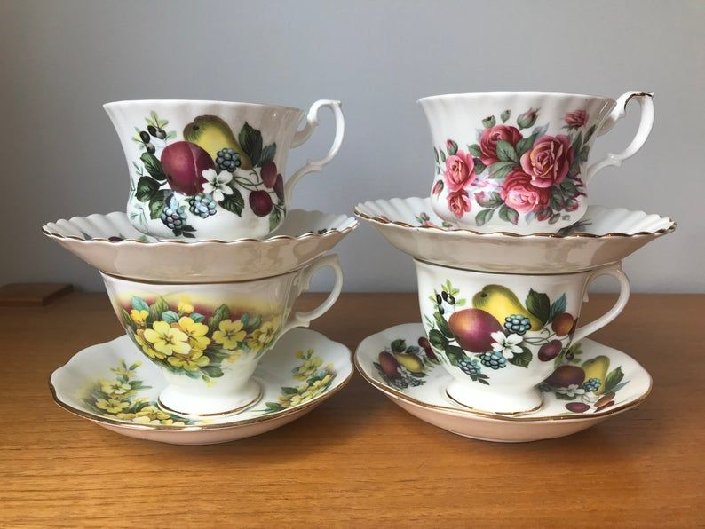 Royal Albert Tea Set, Mismatched Tea Cups and Saucers, Red and Yellow Fruit and Flowers Teacups and Saucers, Vintage Bone China