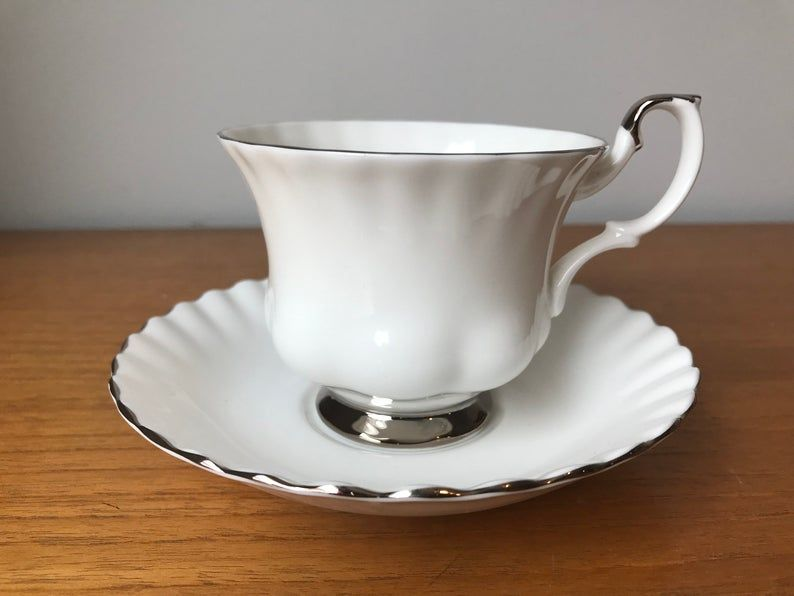 Royal Albert Teacup and Saucer, White and Silver Chantilly Tea Cup and Saucer, Vintage Bone China