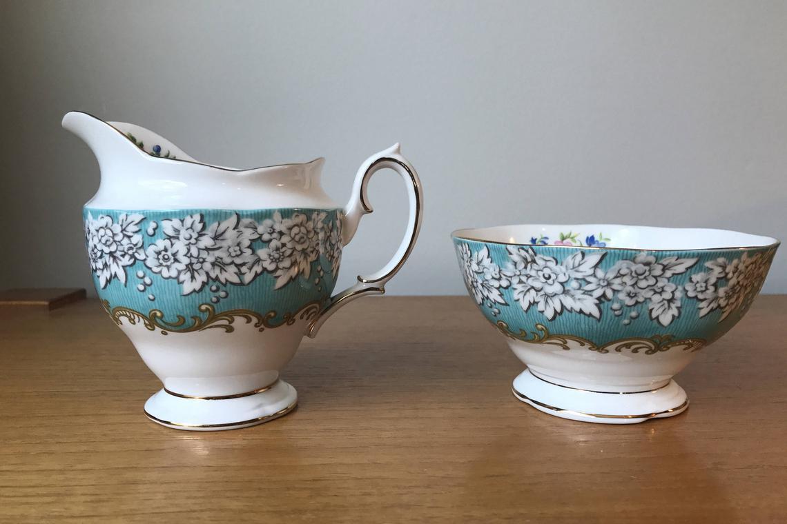 "Vintage Royal Albert ""Enchantment"" Cream and Sugar set, Large Creamer Open Sugar Bowl, Teal White Flower Border Bone China, Milk Pitcher"