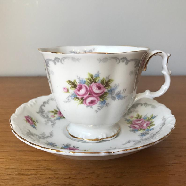 Royal Albert Tranquility Tea Cup and Saucer, Wedding Gift Idea, Pink Rose Embossed Teacup and Saucer, Vintage Bone China