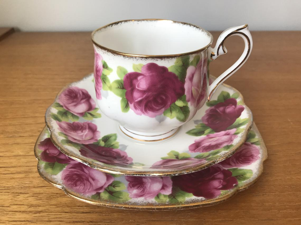 "Royal Albert Vintage Teacup Trio, ""Old English Rose"" Tea Cup, Saucer, Square Bread and Butter Plate, Pink Roses Bone China"