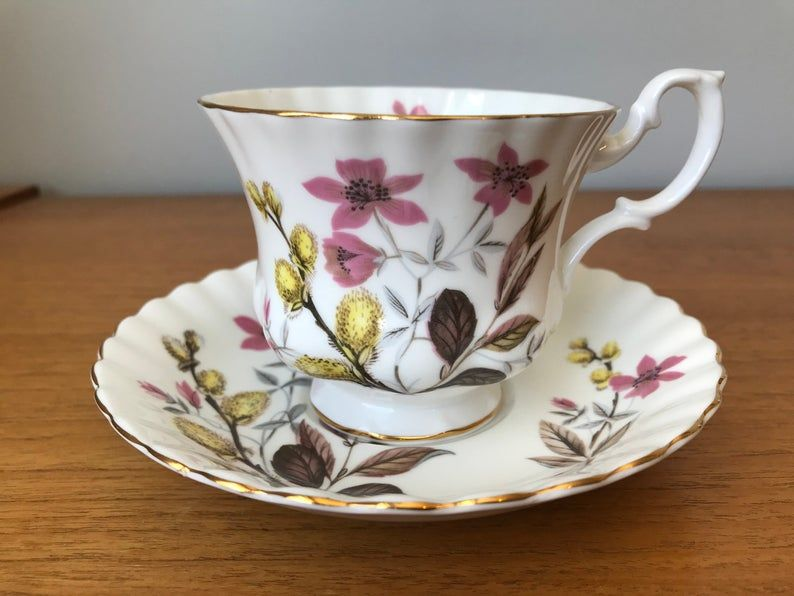 Royal Albert Vintage Tea Cup and Saucer, Un Named Pattern Pink Flowers, Yellow Pussy Willows Brown Leaves Teacup and Saucer