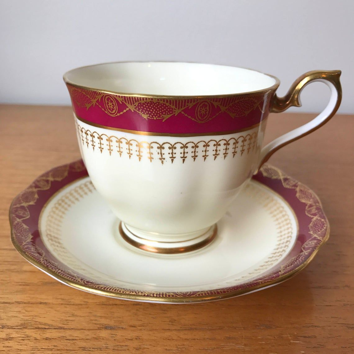 Royal Albert Vintage Tea Cup and Saucer, Red Cream and Gold Teacup and Saucer, UnNamed Pattern, Fine Bone China