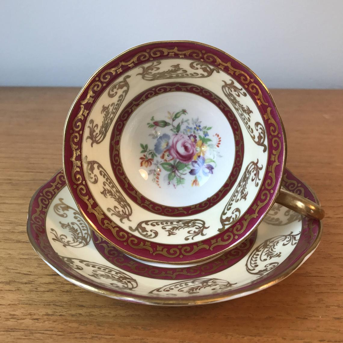 Royal Albert Vintage Teacup and Saucer, Raspberry Red, Cream, White and Gold Tea Cup and Saucer Duo, Flower Bouquet Centres, Bone China