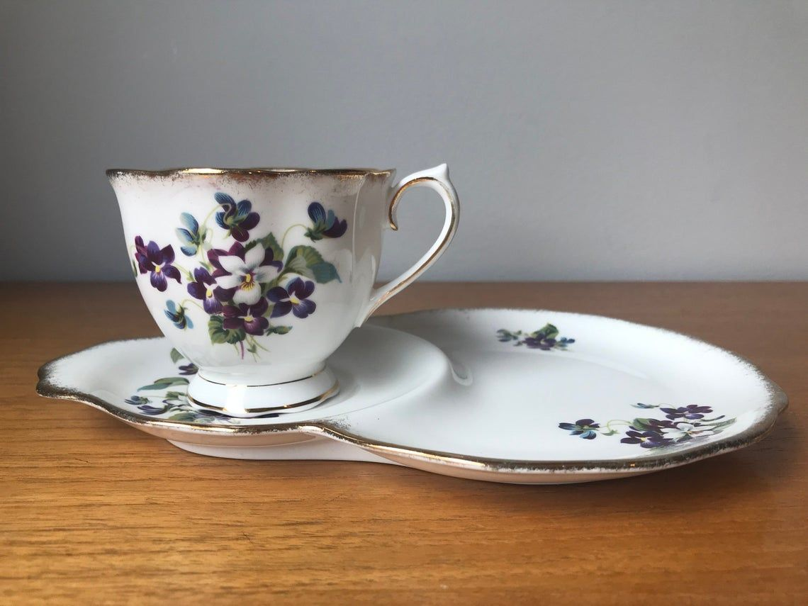 Royal Albert Violets For Love Tea Cup and Snack Plate, Purple and White Violets Teacup and Snack Plate, Vintage Bone China