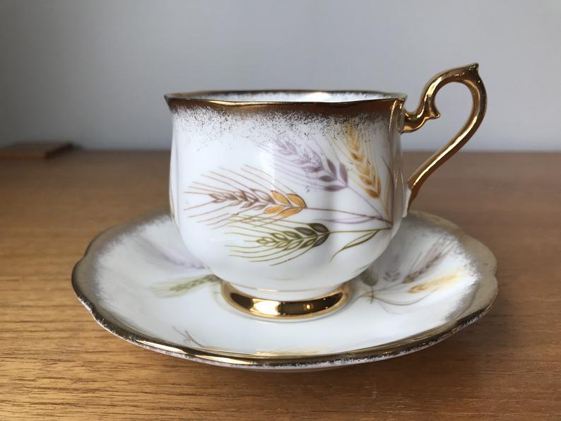 Royal Albert Wheat Tea Cup and Saucer, Purple, Yellow and Green Wheat Harvest Teacup and Saucer