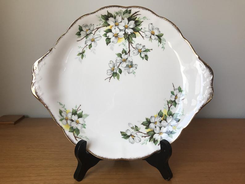 Royal Albert White Dogwood Cake Plate, Vintage Serving Tray with Tab Handles, White Floral English Bone China