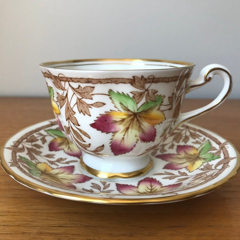 Royal Chelsea Tea Cup and Saucer, Colourful Maple Leaf Teacup and Saucer, Bone China