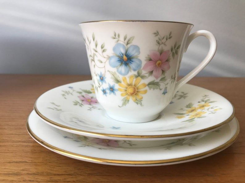 Royal Doulton Elegy Vintage Teacup Trio, Pastel Pink Blue and Yellow Flower Tea Cup, Saucer and Side Plate, Butterfly Floral English China