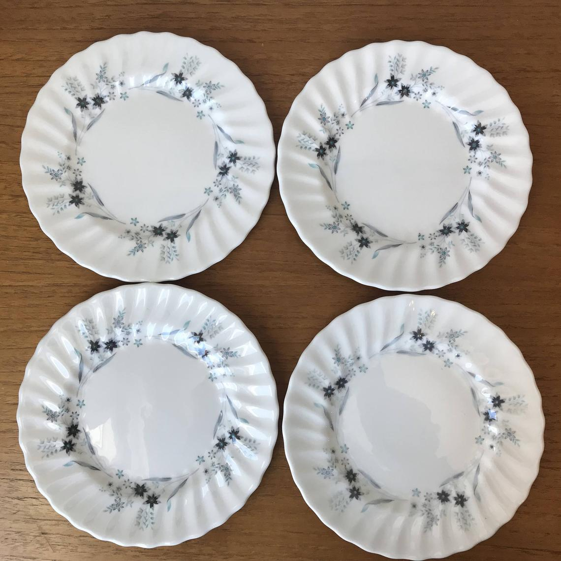 "Royal Doulton ""Millefleur"" Plates, Vintage Dishes, Blue Flower Side Plates, Bread & Butter Plates, Fine Bone China"