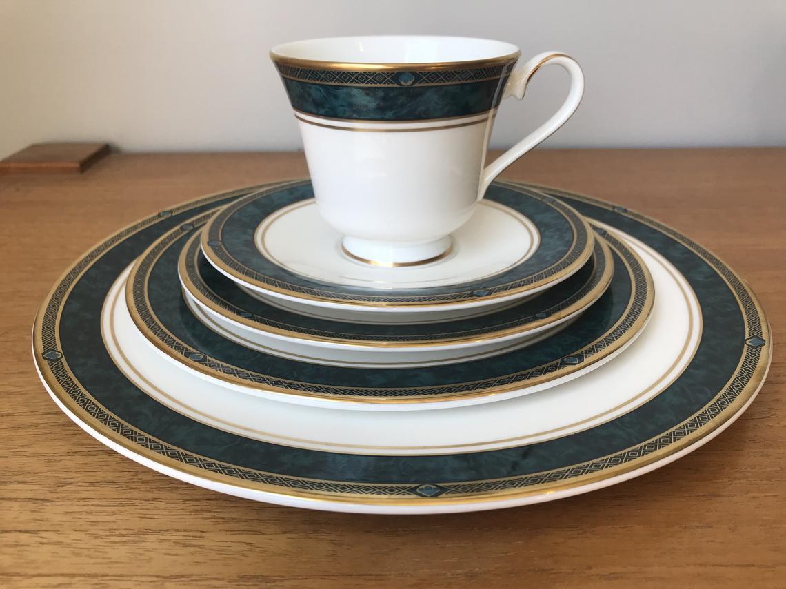 "Royal Doulton Set, Turquoise Marble Border ""Biltmore"" Teacup, Saucer and Plate set, Hostess Set"