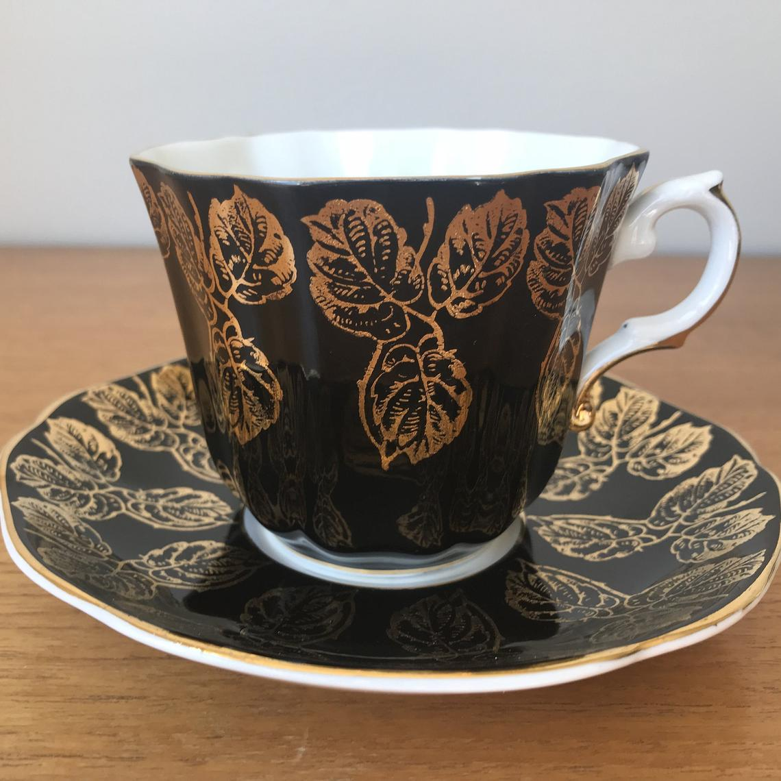 Royal Grafton Black Teacup and Saucer, Gold Leaf Tea Cup and Saucer, Vintage Bone China
