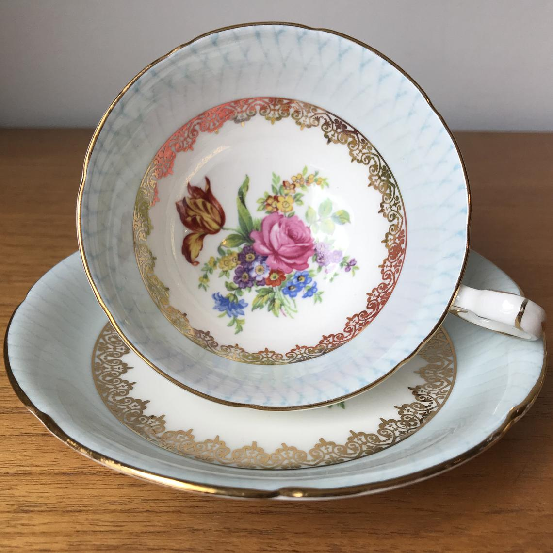 Royal Grafton Tea Cup and Saucer, Floral Pale Blue Border Teacup and Saucer, Vintage China