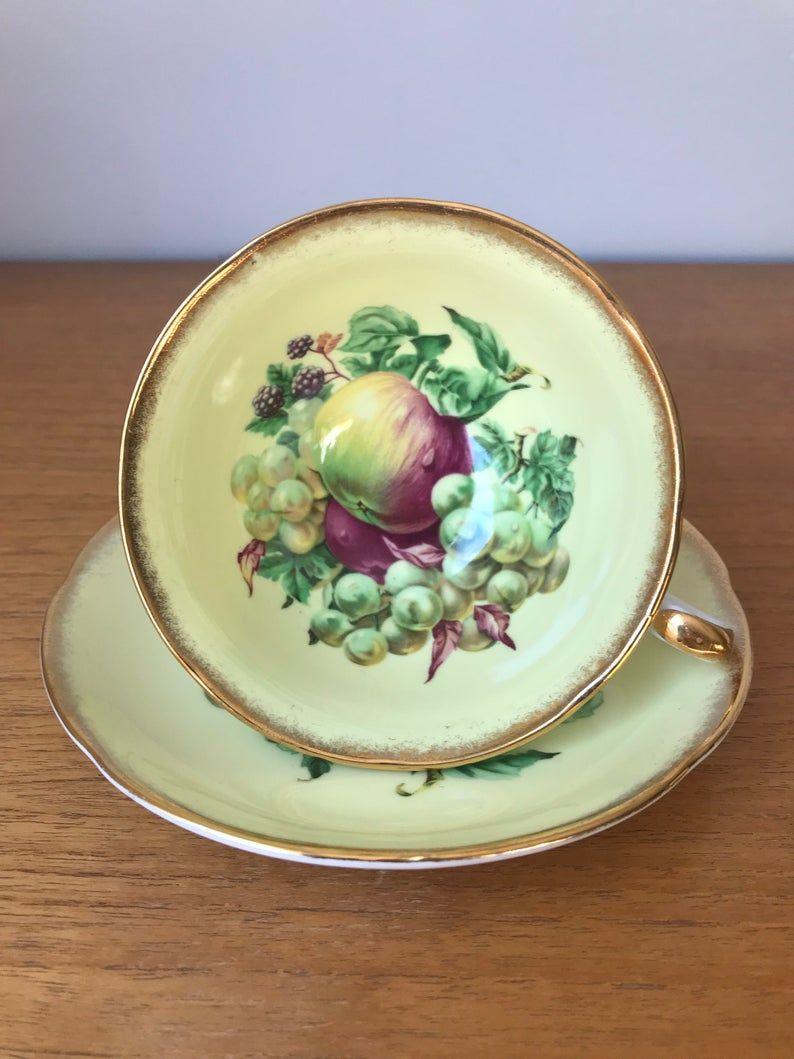 Royal Grafton Fruit Tea Cup and Saucer, Yellow Bone China Teacup and Saucer