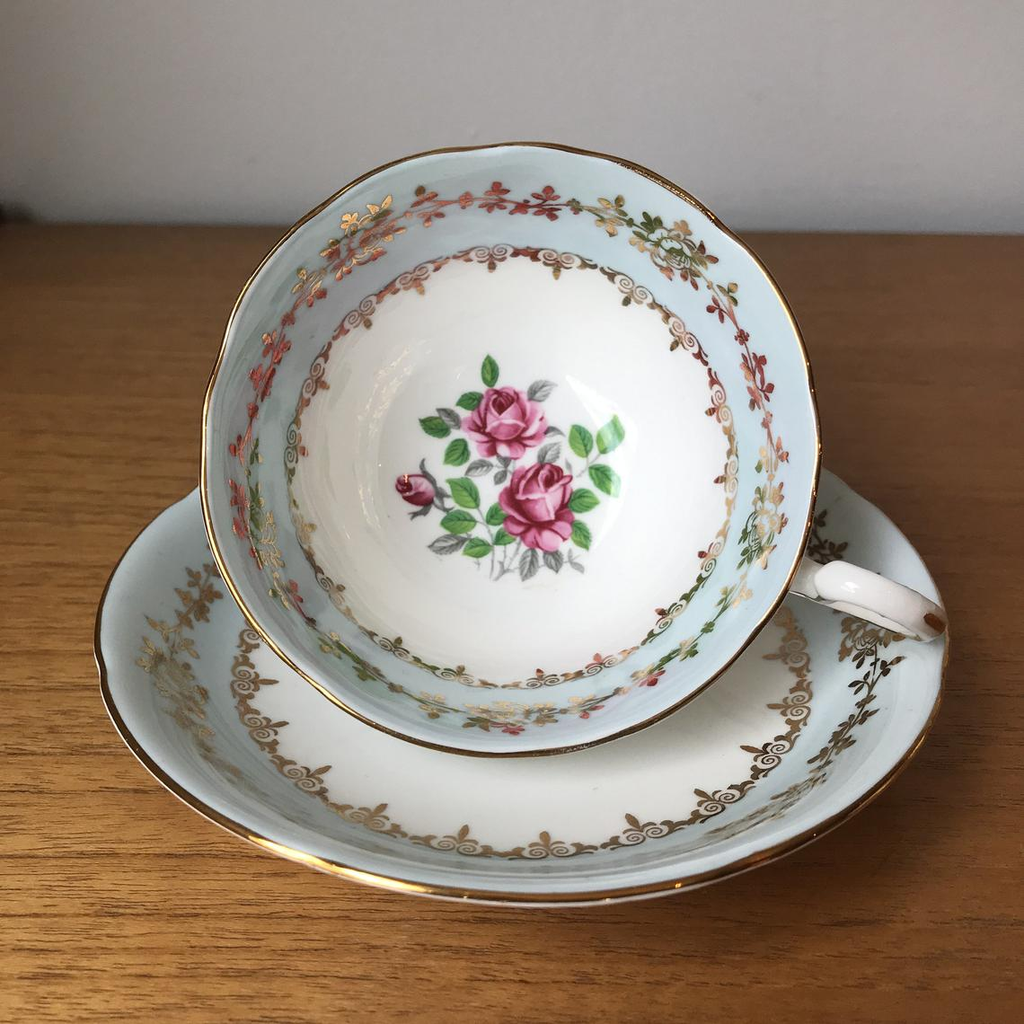 Royal Grafton Pale Blue Border Tea Cup and Saucer, Pink Roses Teacup and Saucer, Vintage Fine Bone China