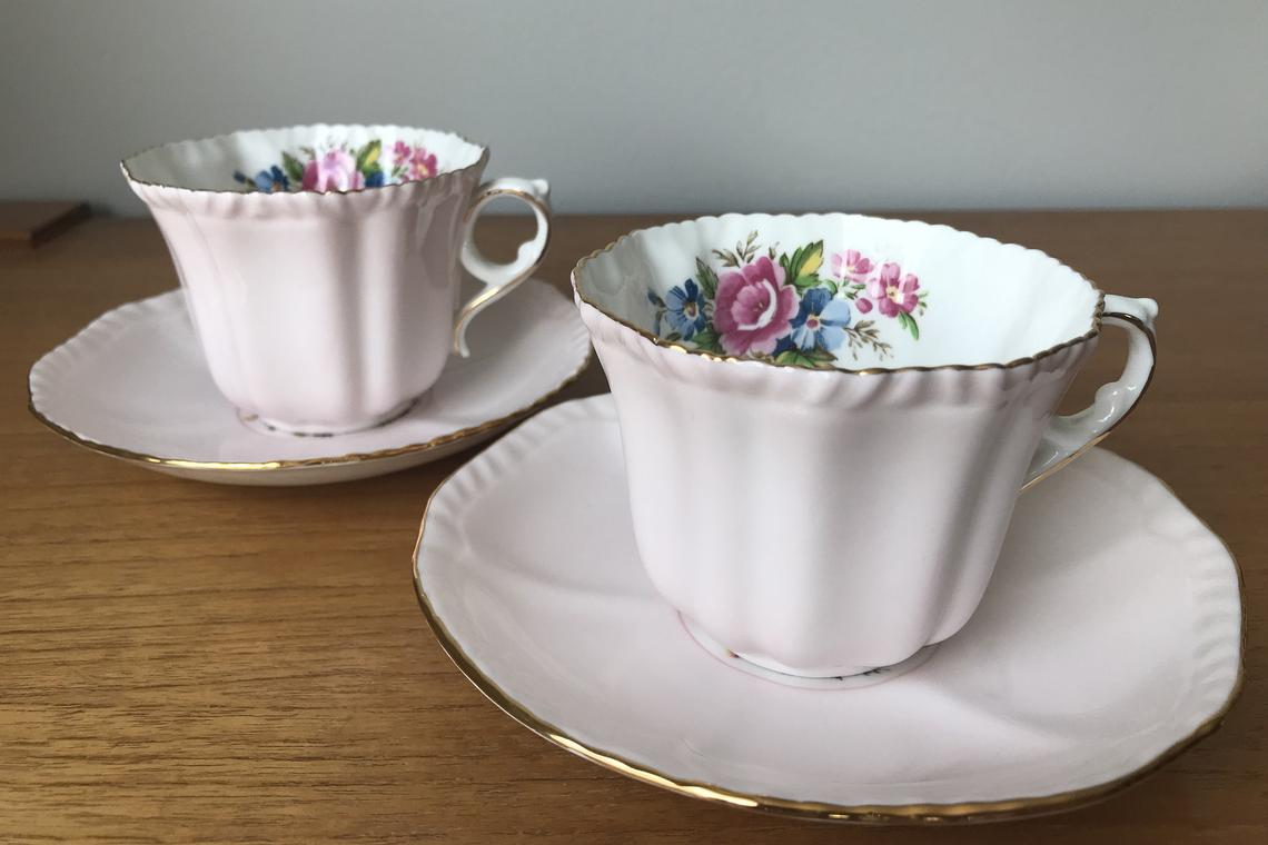 Royal Grafton Pale Pink Teacups and Saucers, Pastel Pink Tea Cups and Saucers, Floral Bone China, Tea for Two Princess Tea Party