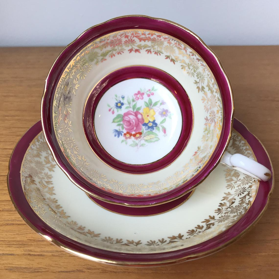 Royal Grafton Vintage Teacup and Saucer, Raspberry Dark Pink Bands with Gold Floral Overlay Tea Cup and Saucer, Bone China