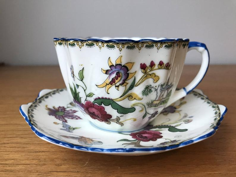 Royal Paragon Teacup and Saucer, Butterfly Flower Tea Cup and Saucer, Bone China Odd Shape