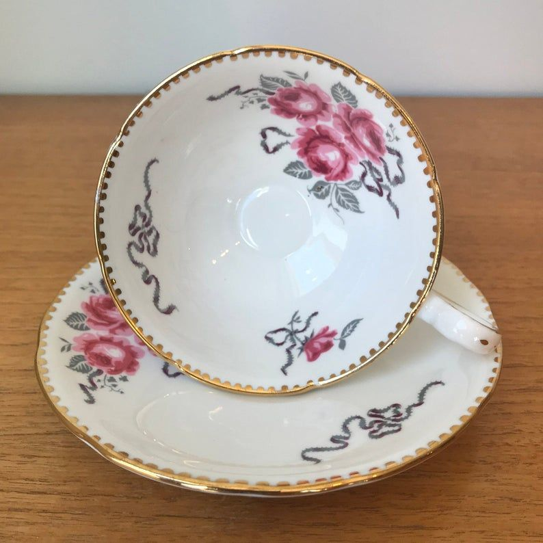 Royal Stafford Cameo Rose Vintage Tea Cup and Saucer, Pink Roses Grey Ribbons Teacup and Saucer
