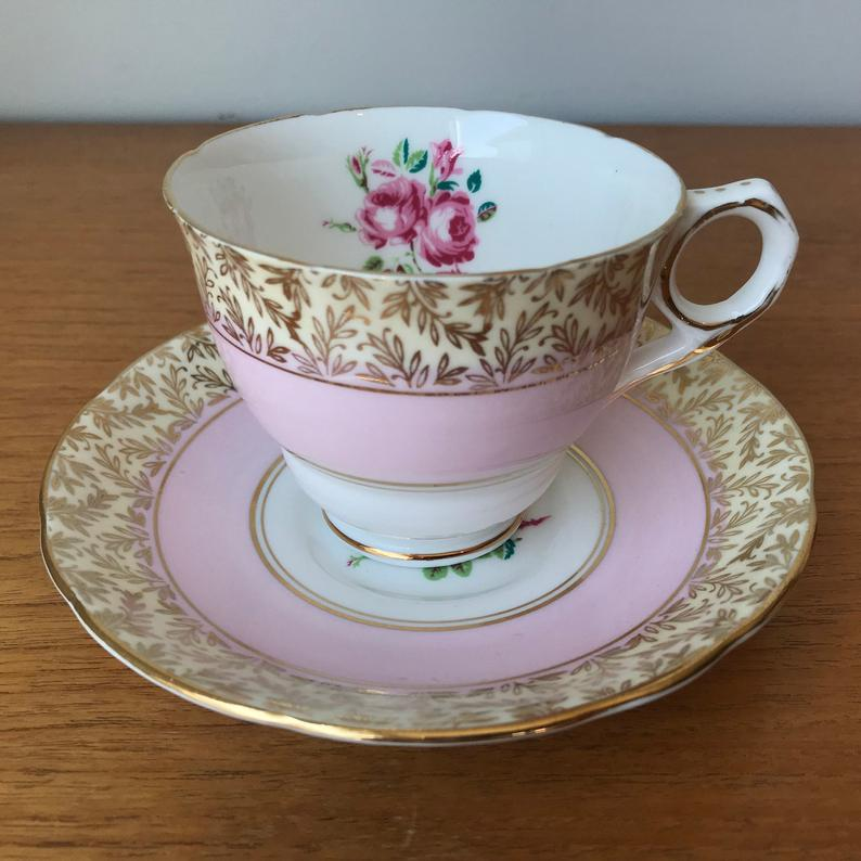 Royal Stafford Pink Tea Cup and Saucer, Pink Rose Gold Chintz Teacup and Saucer, Vintage Bone China