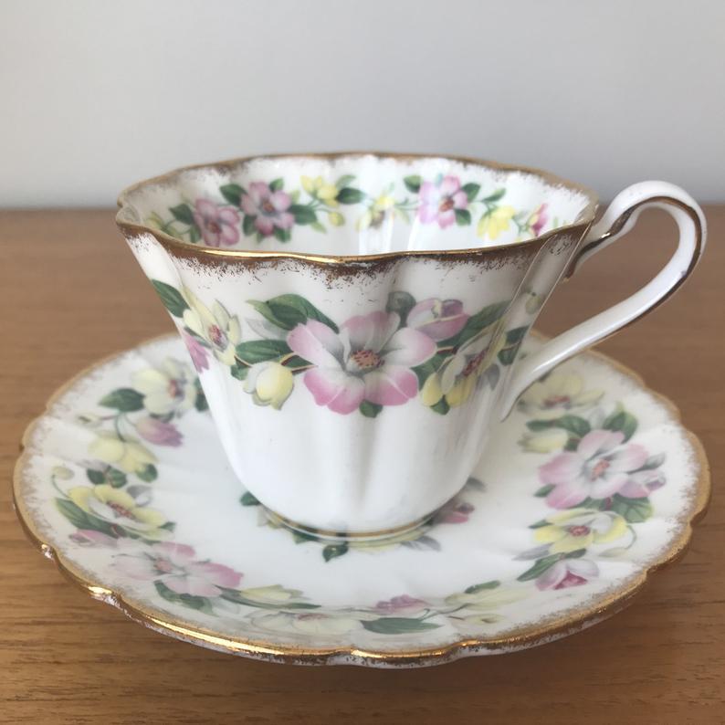 Royal Stafford Syringa Teacup and Saucer, Pink and Yellow Flower Tea Cup and Saucer, English Floral China