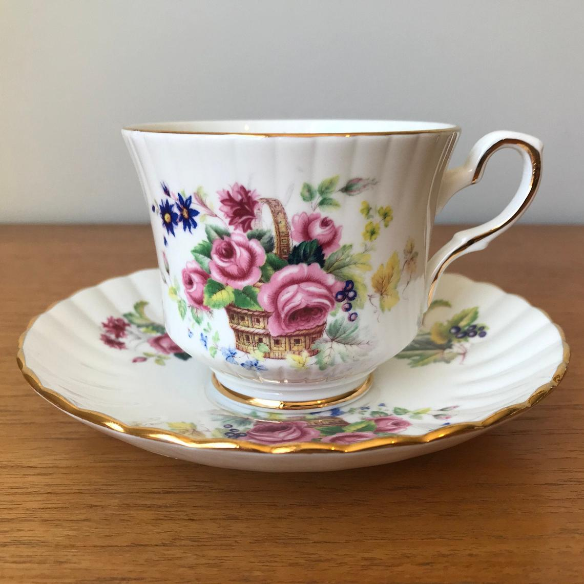 Royal Stafford Tea Cup and Saucer, Basket of Flowers Teacup and Saucer