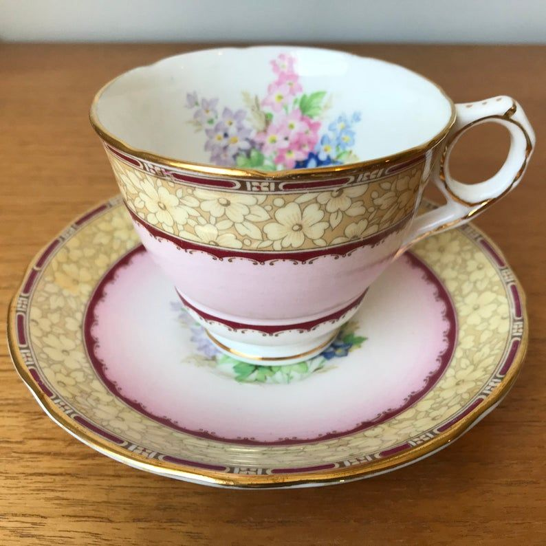 Royal Stafford Windsor Pink Teacup and Saucer, Striped Floral Tea Cup and Saucer Vintage Lilacs Bone China