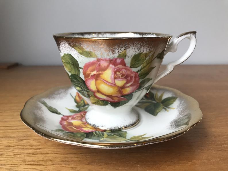 Royal Standard Harry Wheatcroft Roses Tea Cup and Saucer, Peace Autumn Roses Teacup and Saucer