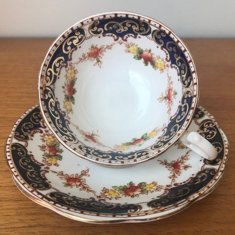 Royal Standard Imari Tea Cup and Saucer, Cobalt Blue, Orange, Brown and Yellow Floral Teacup and Saucer, Bone China