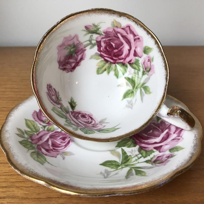 Royal Standard Orleans Rose Vintage Teacup and Saucer, Pink Rose Flower Tea Cup and Saucer, English Floral Bone China, Birthday Gift